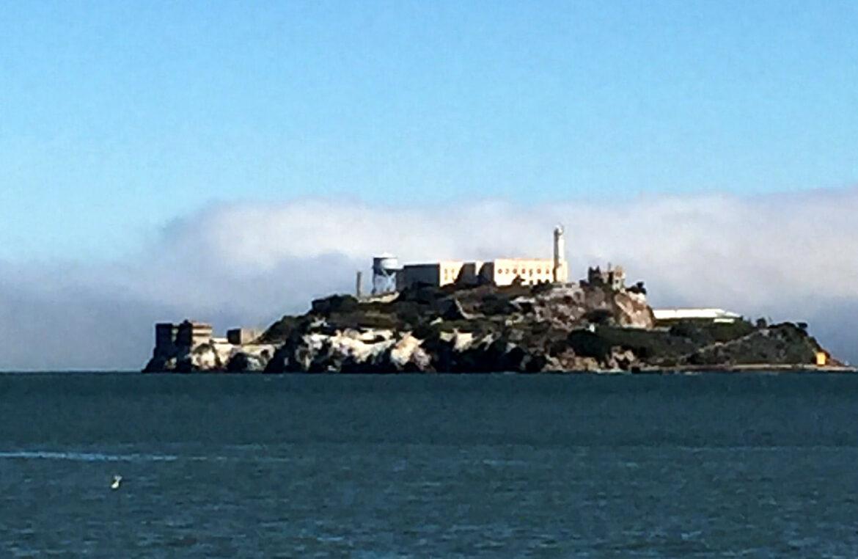 View of Alcatraz Prison from boat