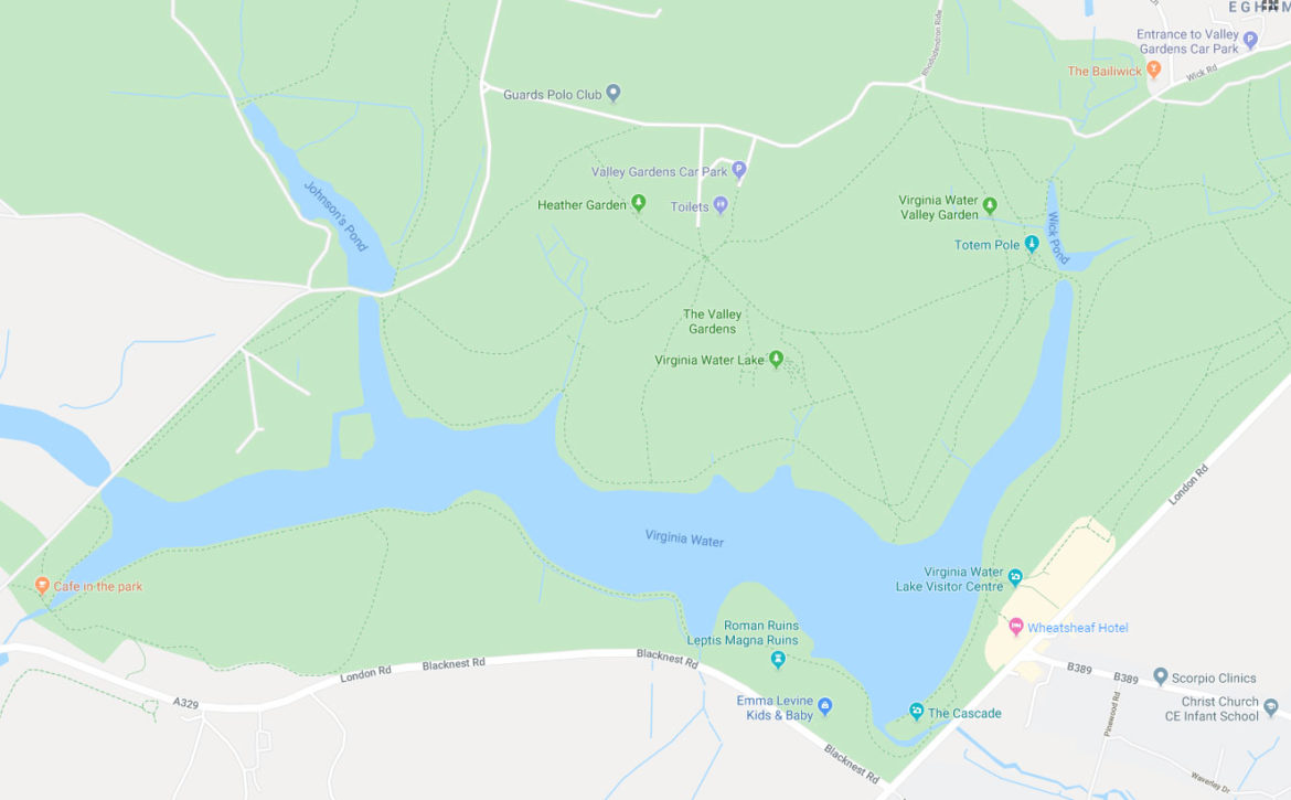 Map of Virginia Water Lake, Egham, Surrey, UK