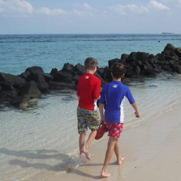 Walking along Turtle Island Beach, Borneo
