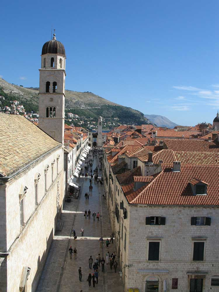 looking down into church tower and street in Dubrovnik old town, Croatia