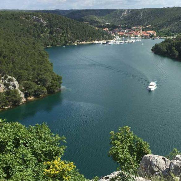 Views of river on journey to Krka National Park, Croatia