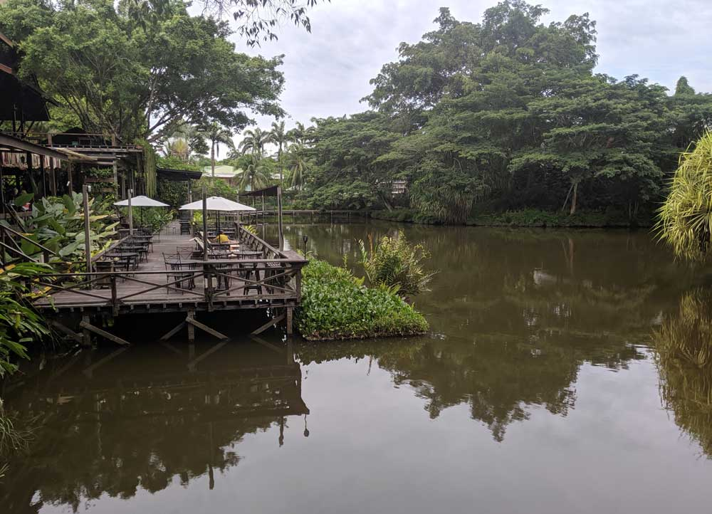 Eating at the Nature Lodge at Sepilok in Borneo with great Lake views