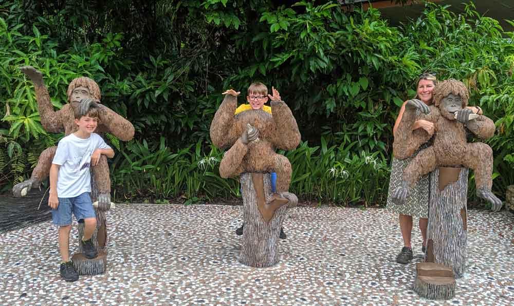 Family at the Sepilok Orangutan Rehabilitation Centre in Borneo