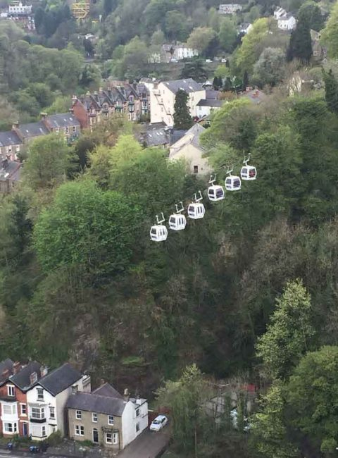 view of Cable cars at Heights of Abraham in Matlock, Peak District