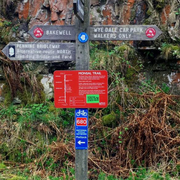 Monsal Trail sign post, Derbyshire