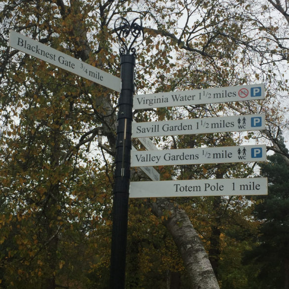 Signpost to Valley Gardens, Virginia Water Lake, Egham, Surrey, UK