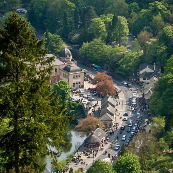 View down to town of Matlock Bath, Derbyshire