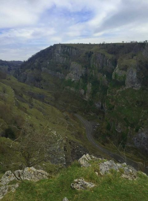 View looking down into Cheddar Gorge in Somerset