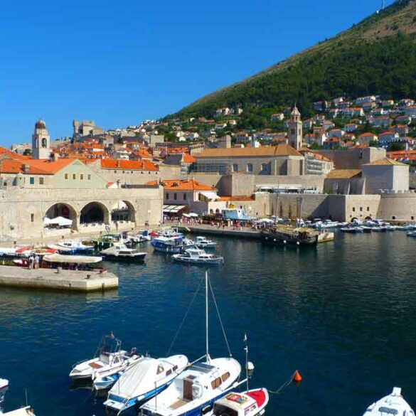 view of boats in port in Dubrovnik old town, Croatia