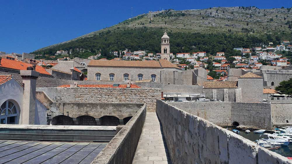 View of Dubrovnik roof tops from the ancient walls of the city