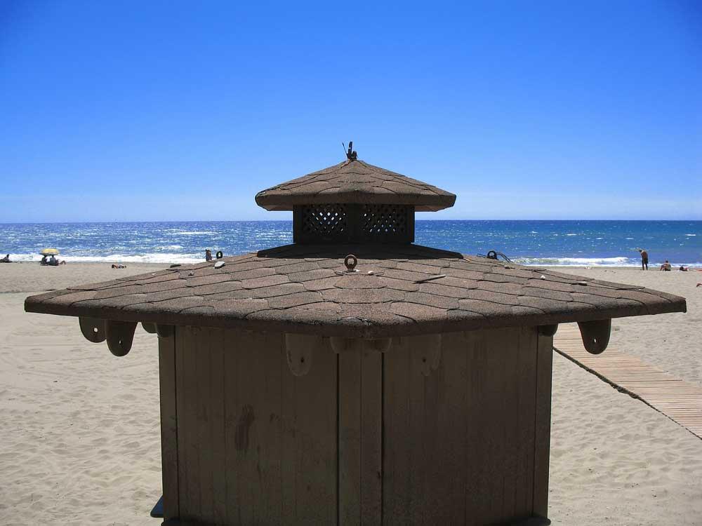 Beach hut on Estepona beach, Spain