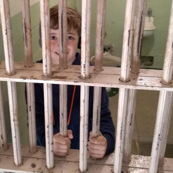 Locked up behind bars at Alcatraz Island
