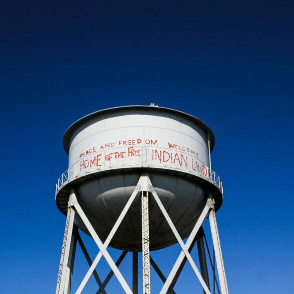 Water tower at Alcatraz Prison in San Francisco