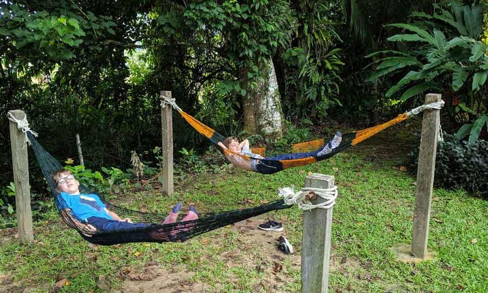 chilling on hammocks, Nature Lodge, Kinabatangan, Borneo