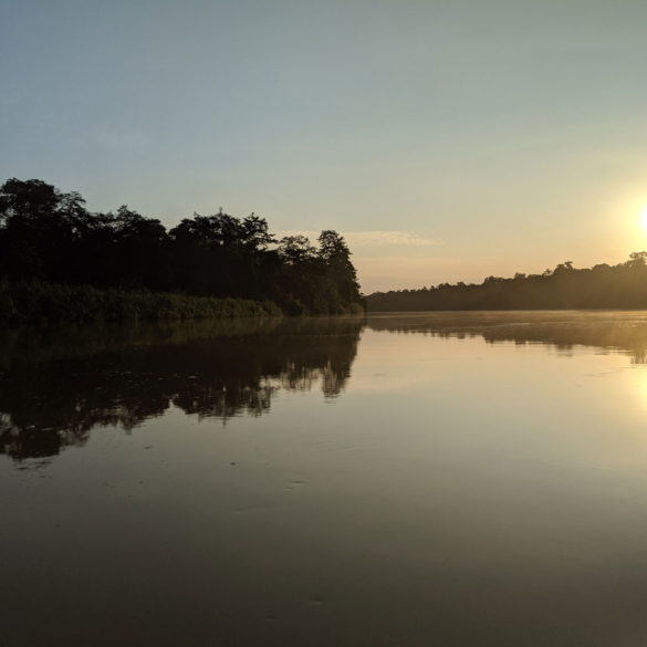 Sunset on evening River cruise, Kinabatangan, Borneo