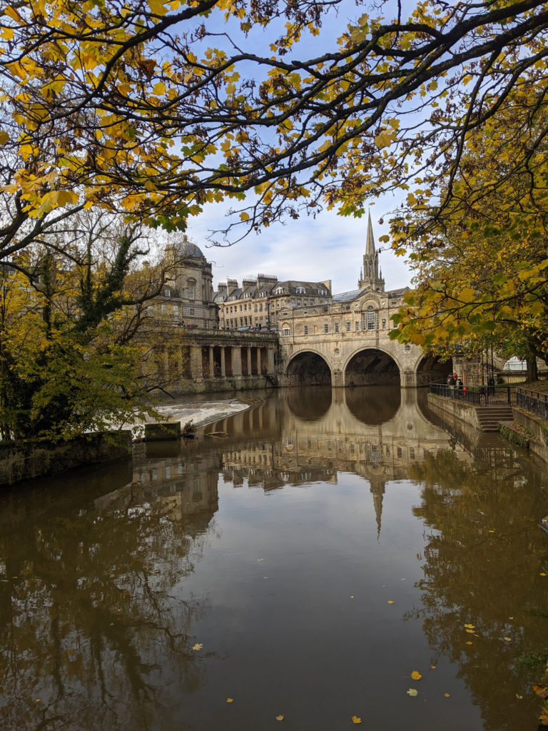 View of River and Pultney Bridge in Autumn, Bath