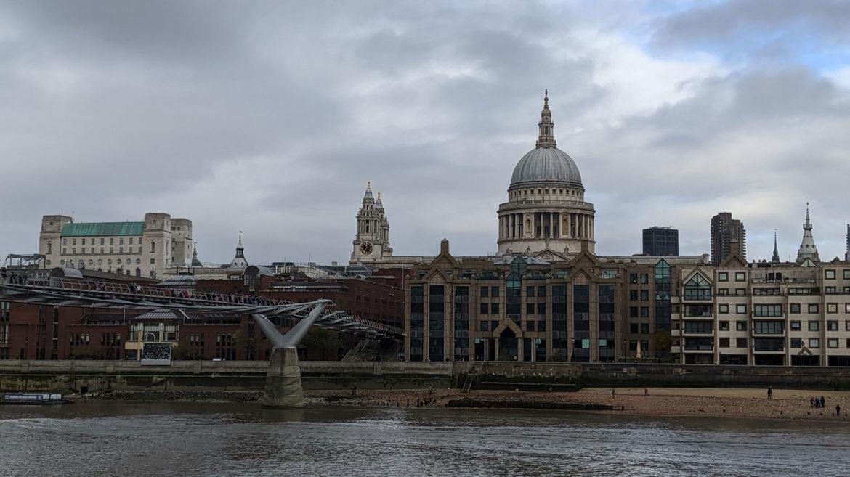 St Pauls Cathedral and Millennium Bridge, London, UK