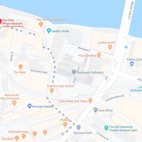 Walking map to the Clink Museum, London, UK