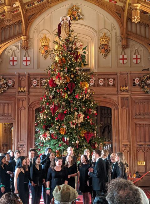 Choir singing in St George's Hall, Windsor Castle, Windsor