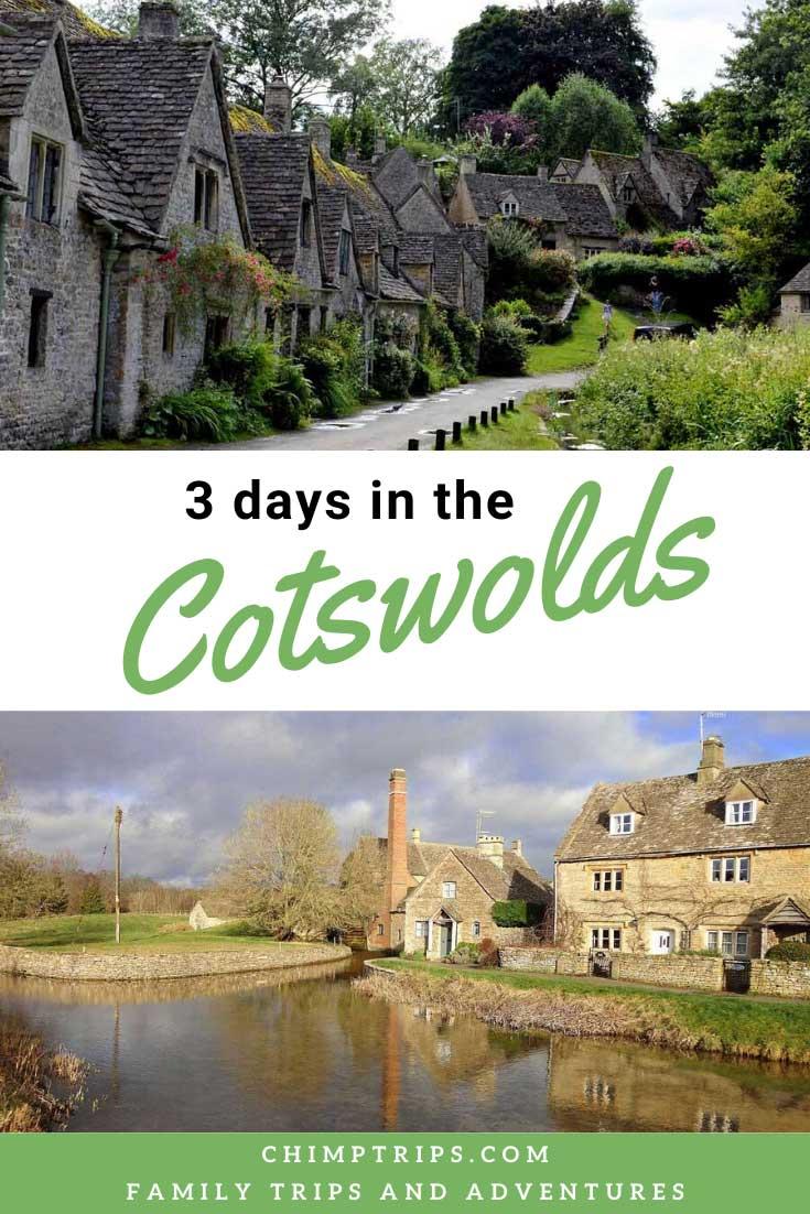 Pinterest image, Cotswold vilages, brown stone cottages