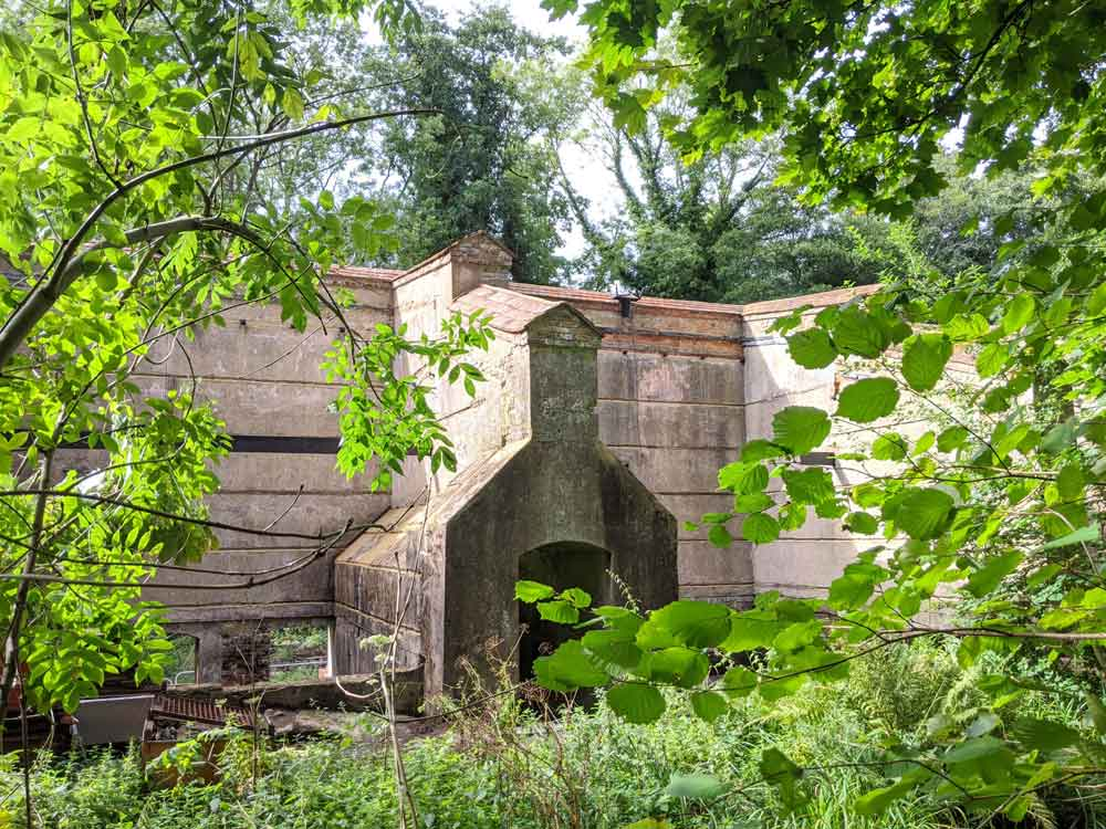 Old derelict buildings at Chilworth Gunpowder Mills, Surrey, England