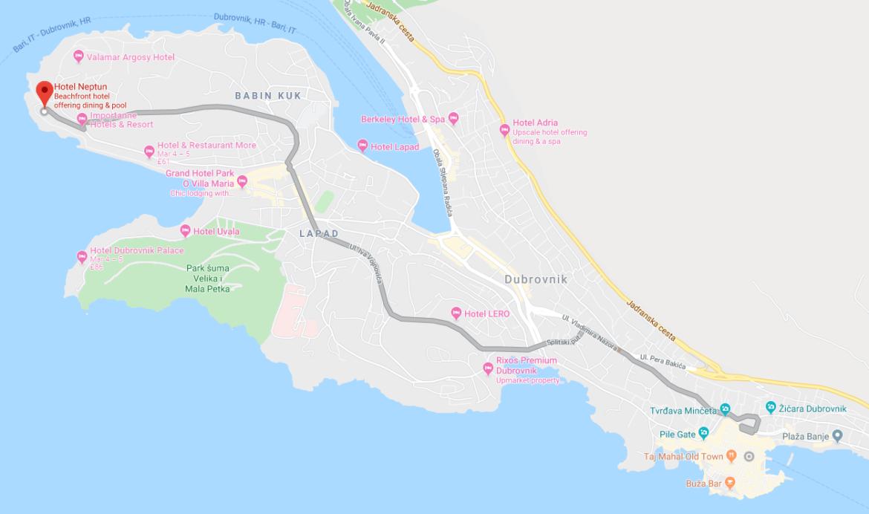 Map showing proximity of Lapad Peninsular to Dubrovnik, Croatia