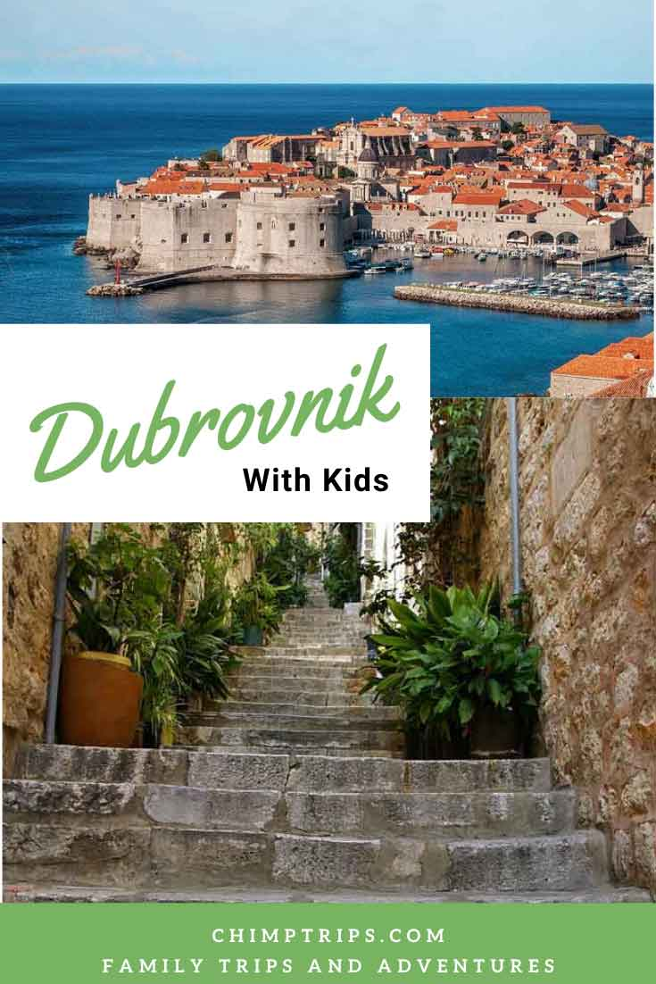 View of Dubrovnik Town across the sea and old stone steps