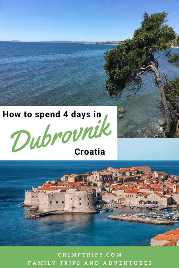 View of Dubrovnik Town across the sea and coastal views