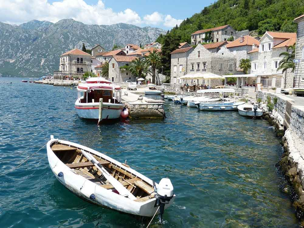 View of sea, boats and harbour at Kotor Montenegro