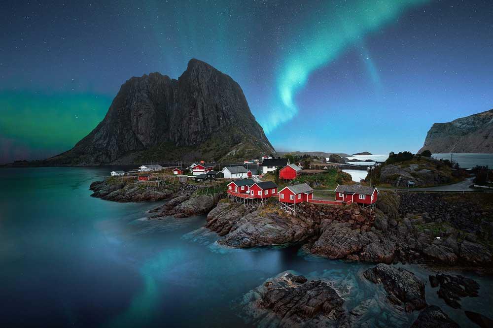 Northern lights of Norway village