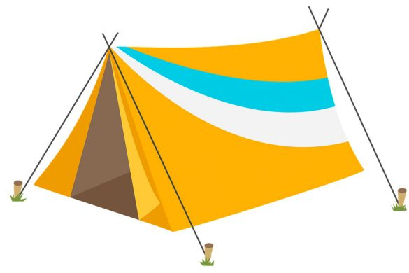 picture of a yellow tent with blue and white stripe
