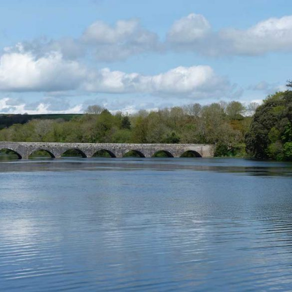View of bridge across Bosherton Lake, Stackpole Estate, Pembrokeshire, Wales