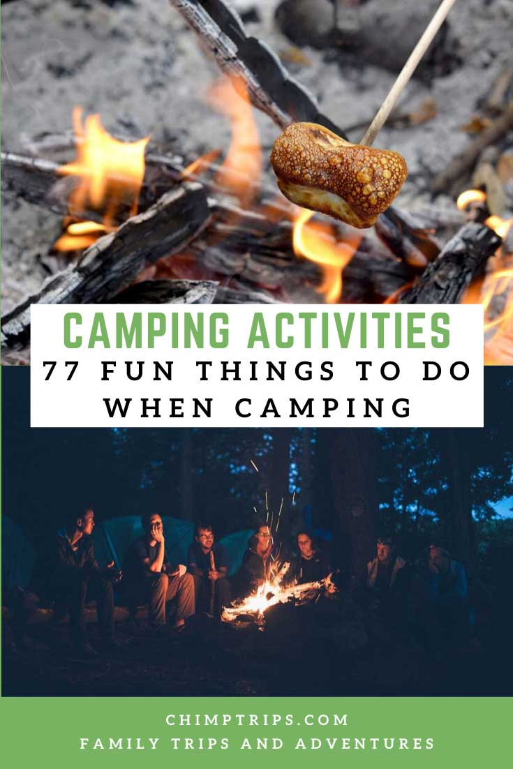 pinterest cover showing roasting marshmallows and camp fire