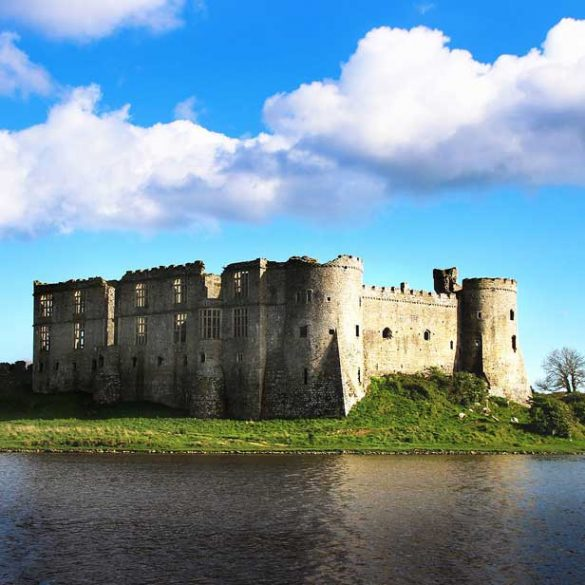 View of Carew Castle across the Tidal Mill