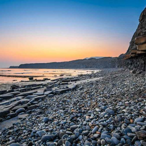 view of cliffs, stones and sea, Jurassic Coast