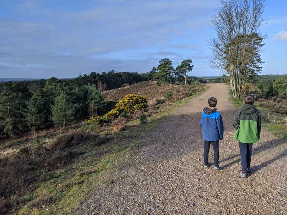 Two boys taking a walk outdoors along shingle path on a ridge