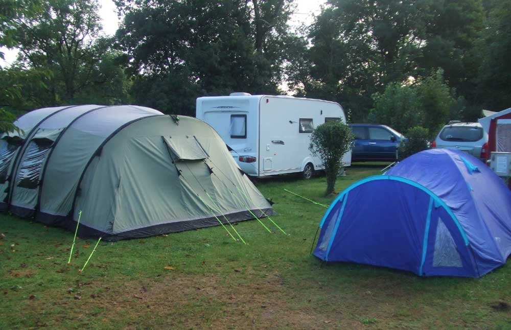 View of different tents at campsite