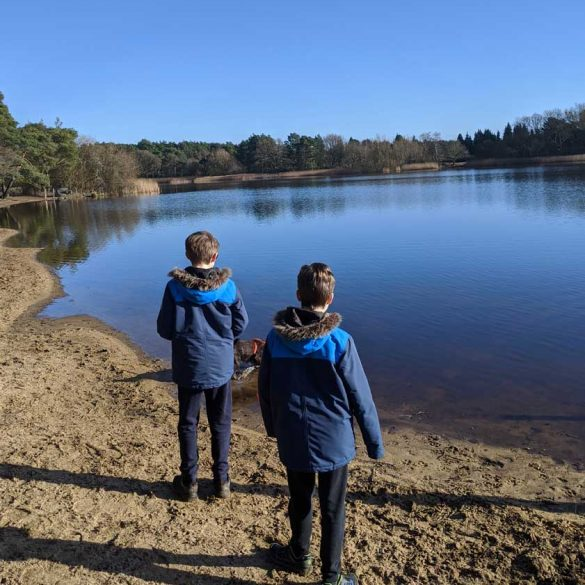 Children at Frensham Pond family walk, Surrey