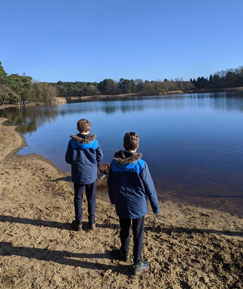 Children at Frensham Pond family walk, Surrey