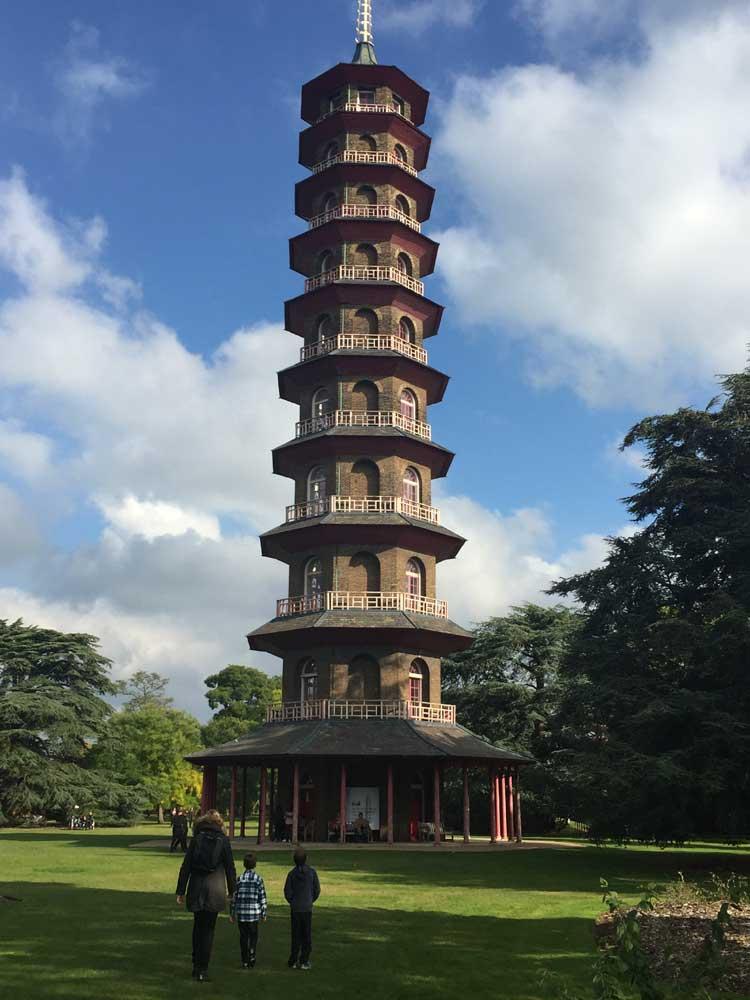 Children admire Great Pagoda at Kew Gardens, Surrey
