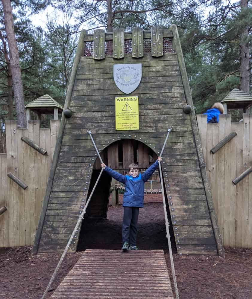 Play Castle at the Look Out, Swinley Forest, Berkshire, England