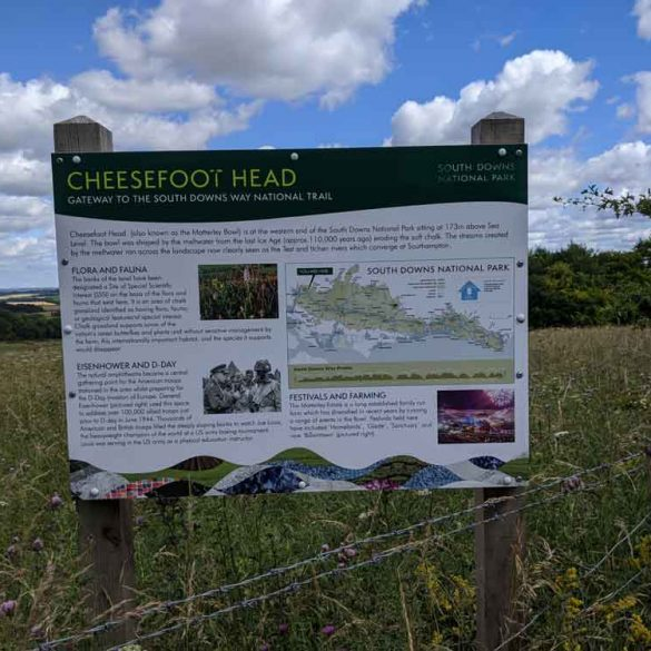 Information board at Cheesefoot Head gateway to the South Downs Way Trail