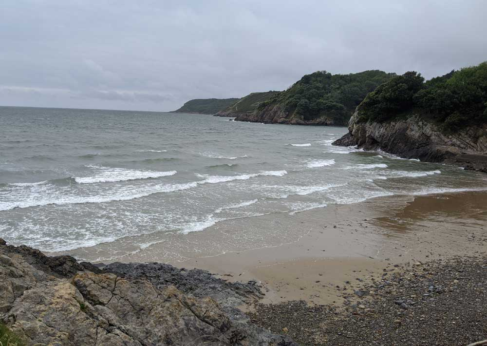 Caswell Bay on overcast morning, Gower Peninsula, Wales
