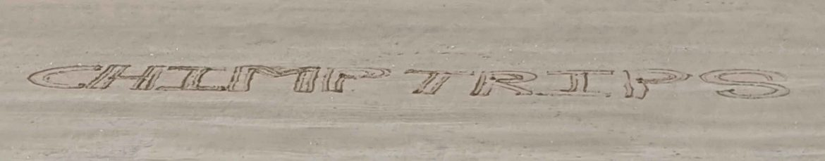 Chimptrips name written in sand, Gower Peninsula