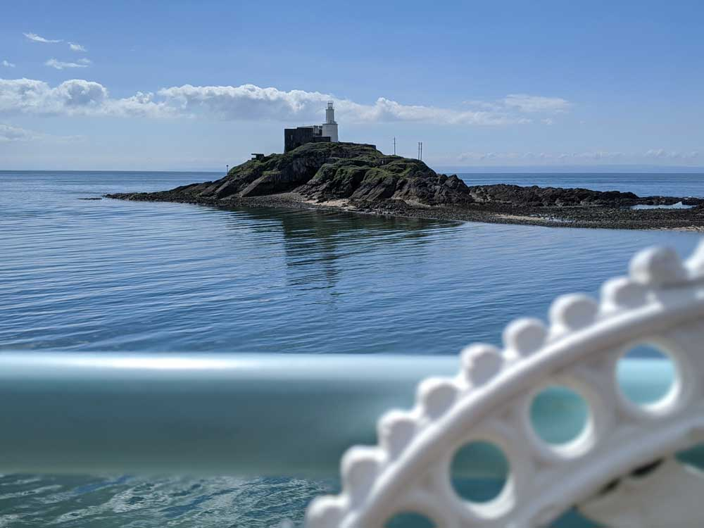 View of Mumbles Light house from Pier, Gower Peninsula, Wales