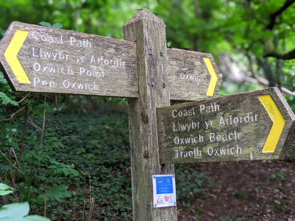 signposts for Oxwich Point Walk