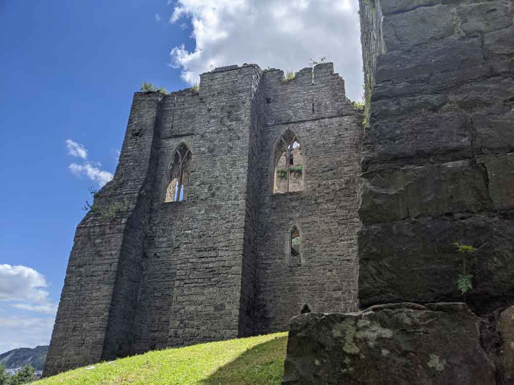 Crumbling ruins of Oystermouth Castle, Mumbles, Gower Peninsula, Wales