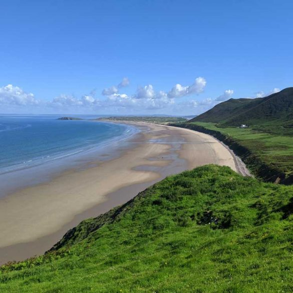 view from headland down onto Rhossili Bay Beach