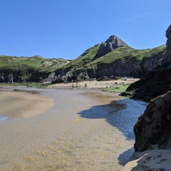 coastline and beach at Three cliffs Bay, Gower Peninsula