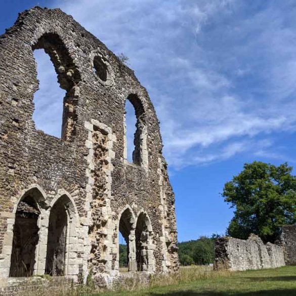 view of Waverley Abbey ruins, multiple arched windows, Surrey